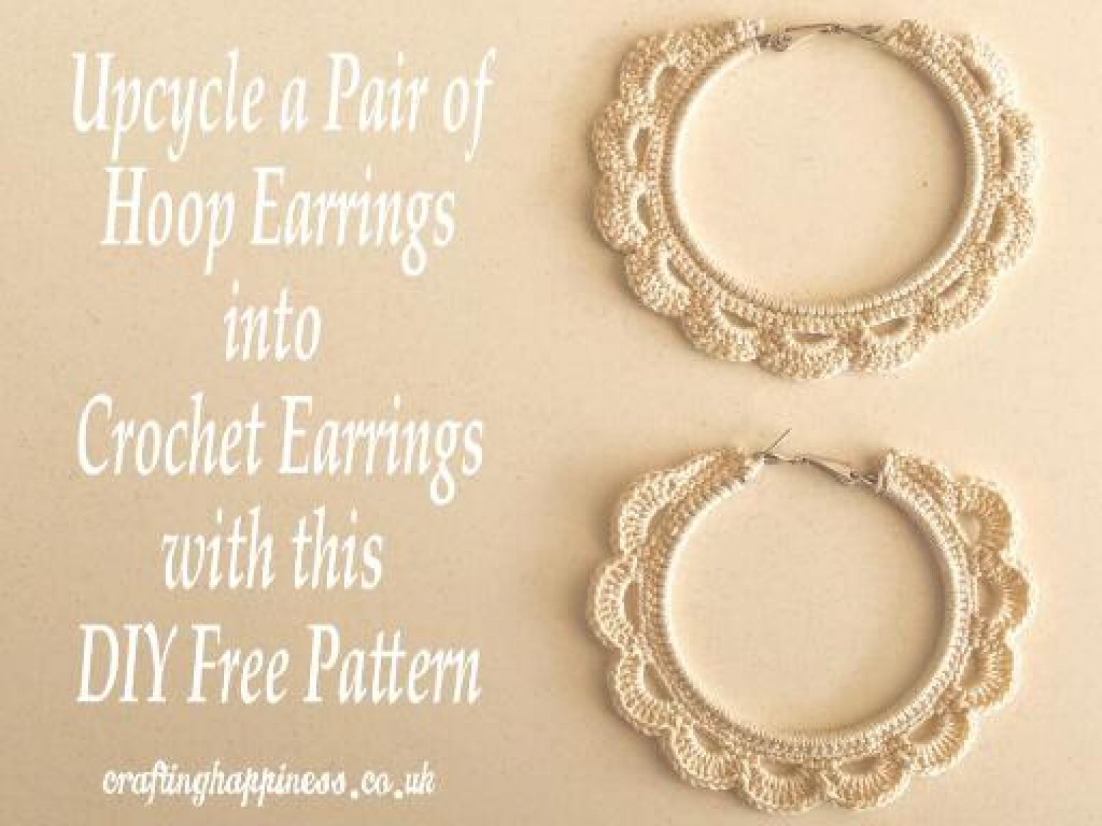 Upcycle a Pair of Old Hoop Earrings into Beautiful Crochet Earrings with this DIY Free Pattern
