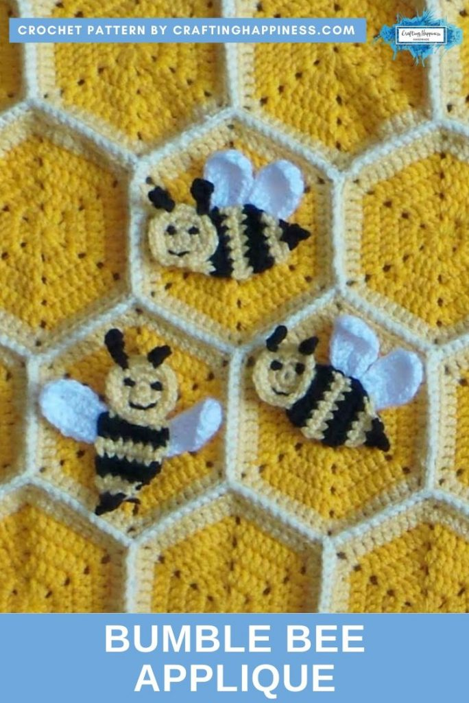 Bumble Bee Applique by Crafting Happiness PINTEREST POSTER 2