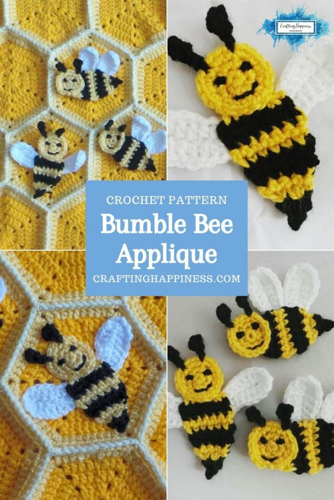 Bumble Bee Applique by Crafting Happiness PINTEREST POSTER 3