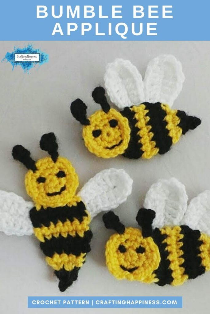 Bumble Bee Applique by Crafting Happiness PINTEREST POSTER 4