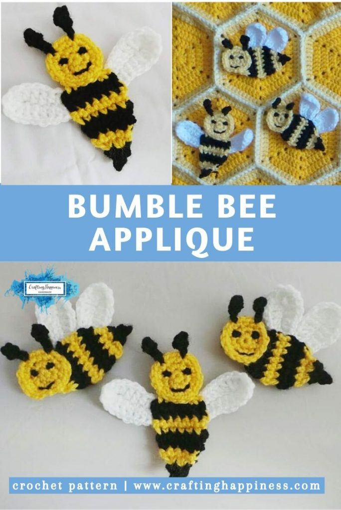 Bumble Bee Applique by Crafting Happiness PINTEREST POSTER 5