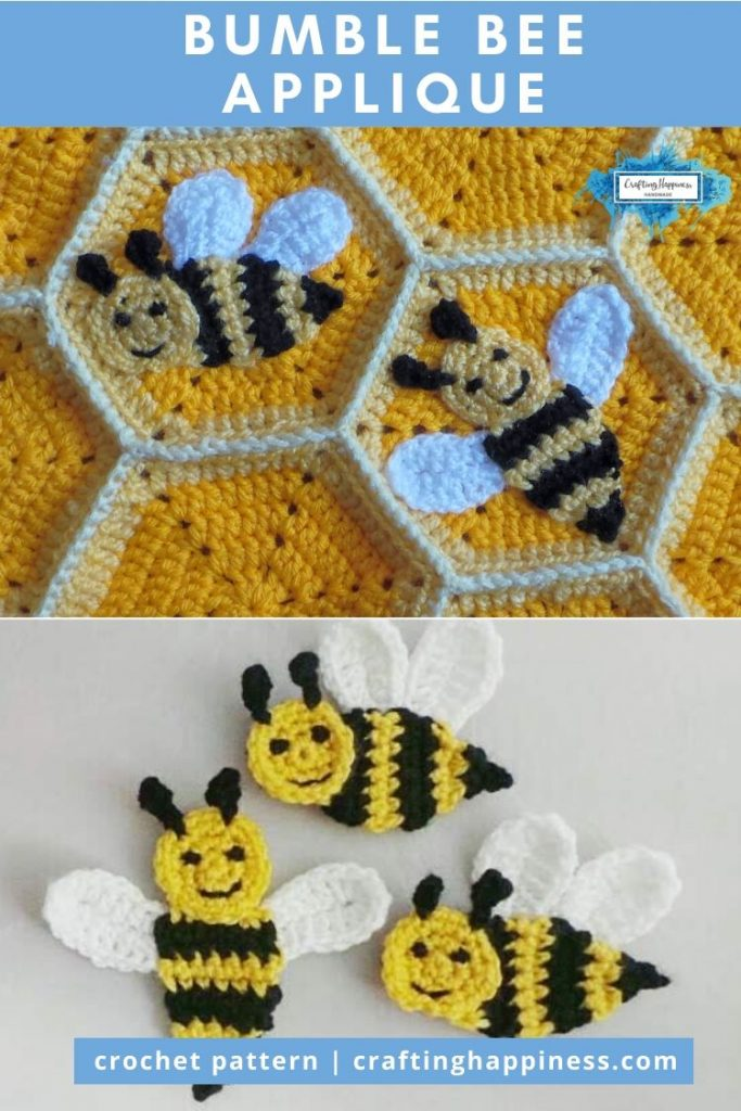 Bumble Bee Applique by Crafting Happiness PINTEREST POSTER 6