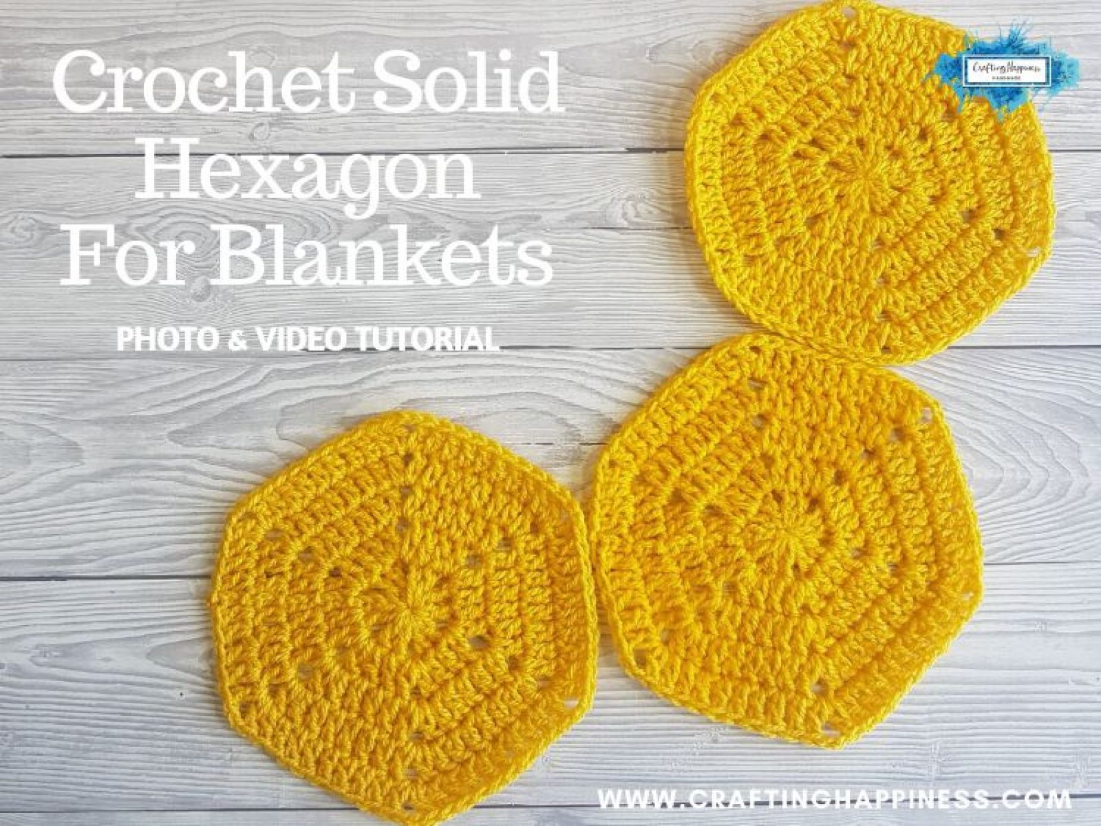 Crochet Solid Hexagon For Blankets - Photo & Video Tutorial