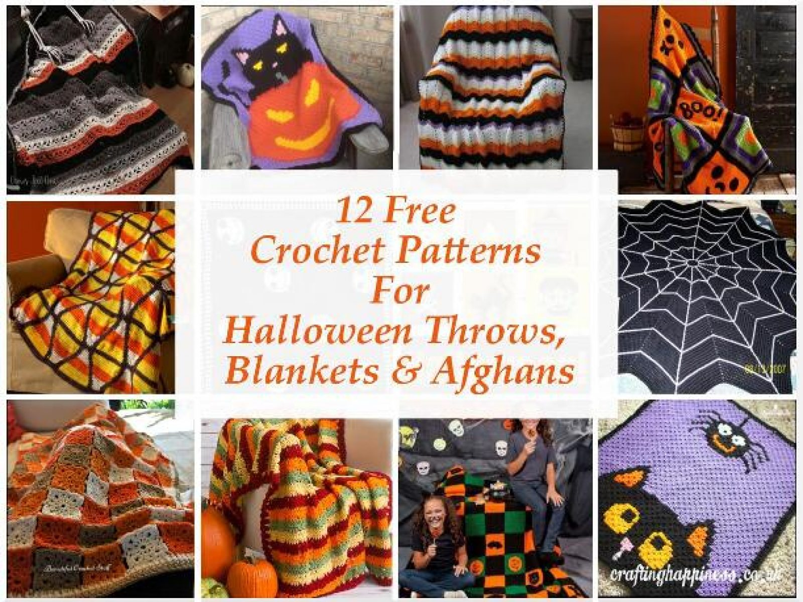 12 Free Crochet Halloween Blanket, Throw & Afghan Patterns