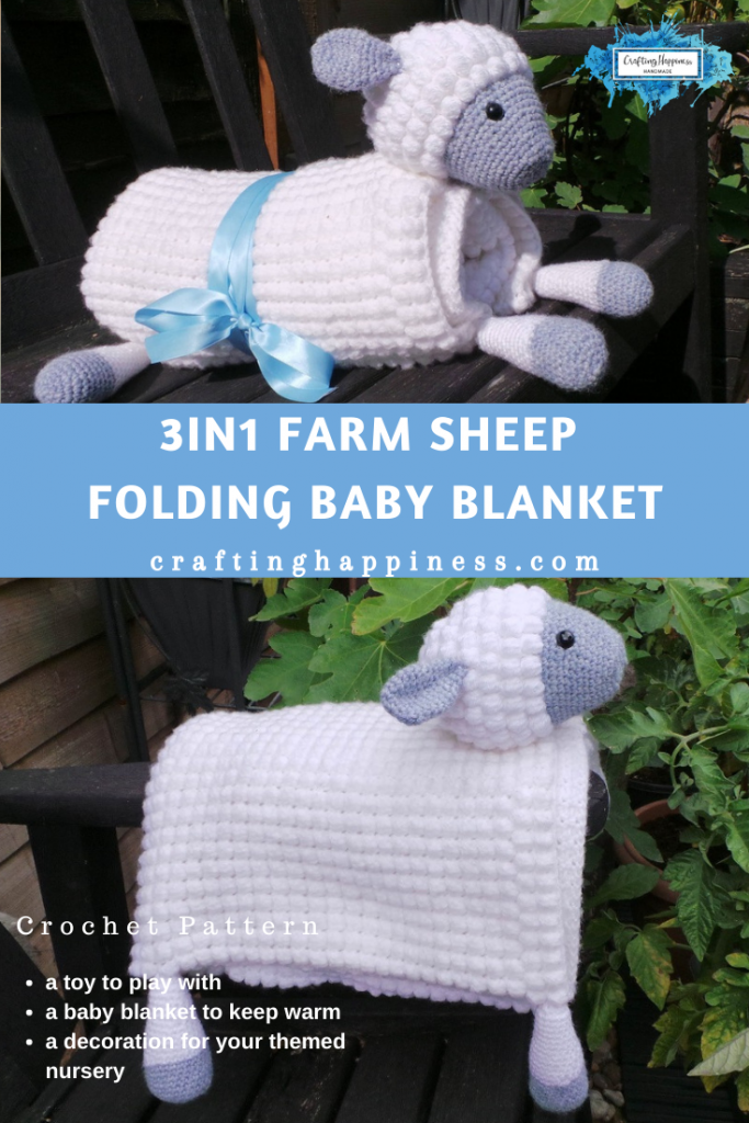 3in1 Farm Sheep Folding Baby Blanket Crochet Pattern by Crafting Happiness