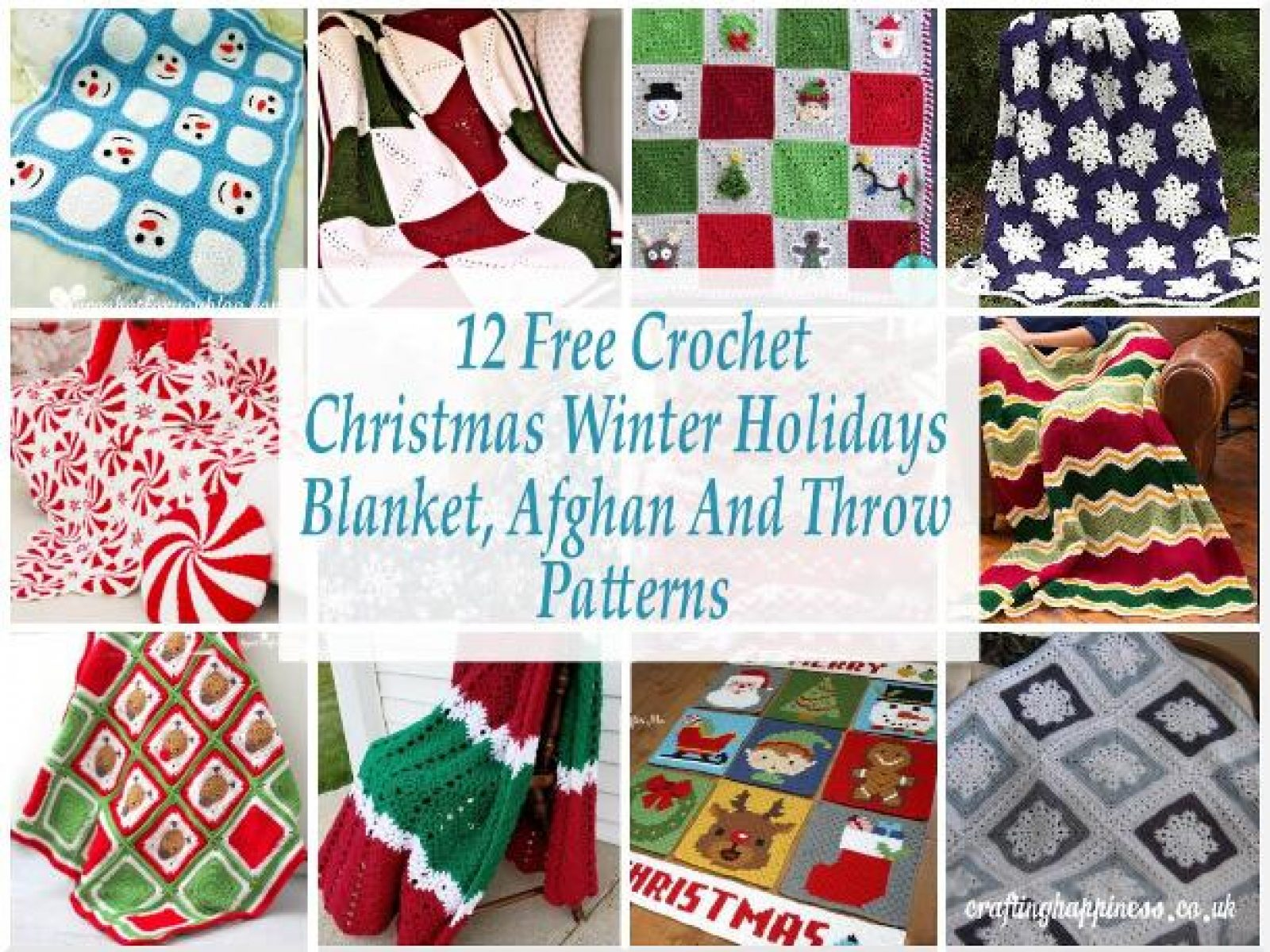 12 Free Crochet Christmas Blanket, Afghan & Throw Patterns