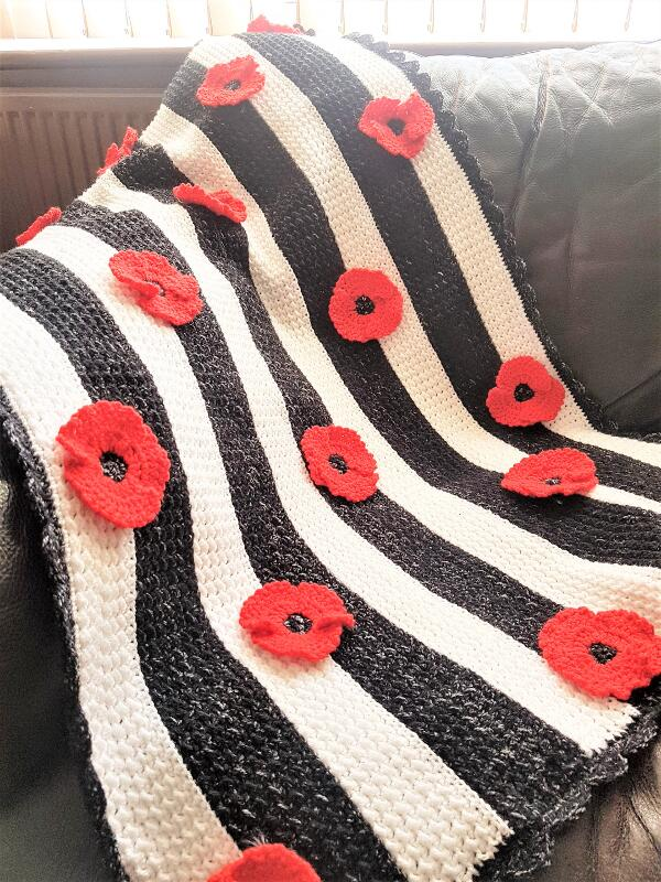 Crochet Poppy Flower Baby Blanket Free Pattern by Crafting Happiness