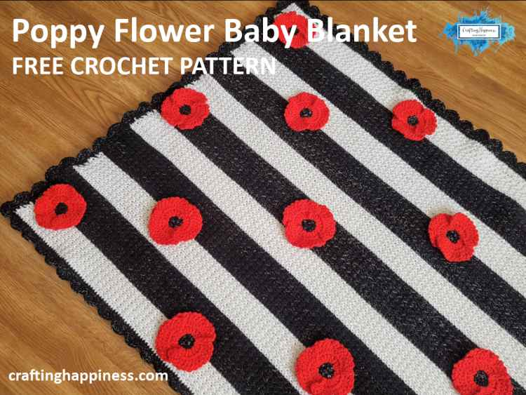 Crochet Poppy Flower Free Pattern by Crafting Happiness Facebook Poster