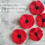 Quick & Easy Crochet Poppy Flower Applique With 3, 4 & 5 Petals Free Pattern by Crafting Happiness Facebook Poster