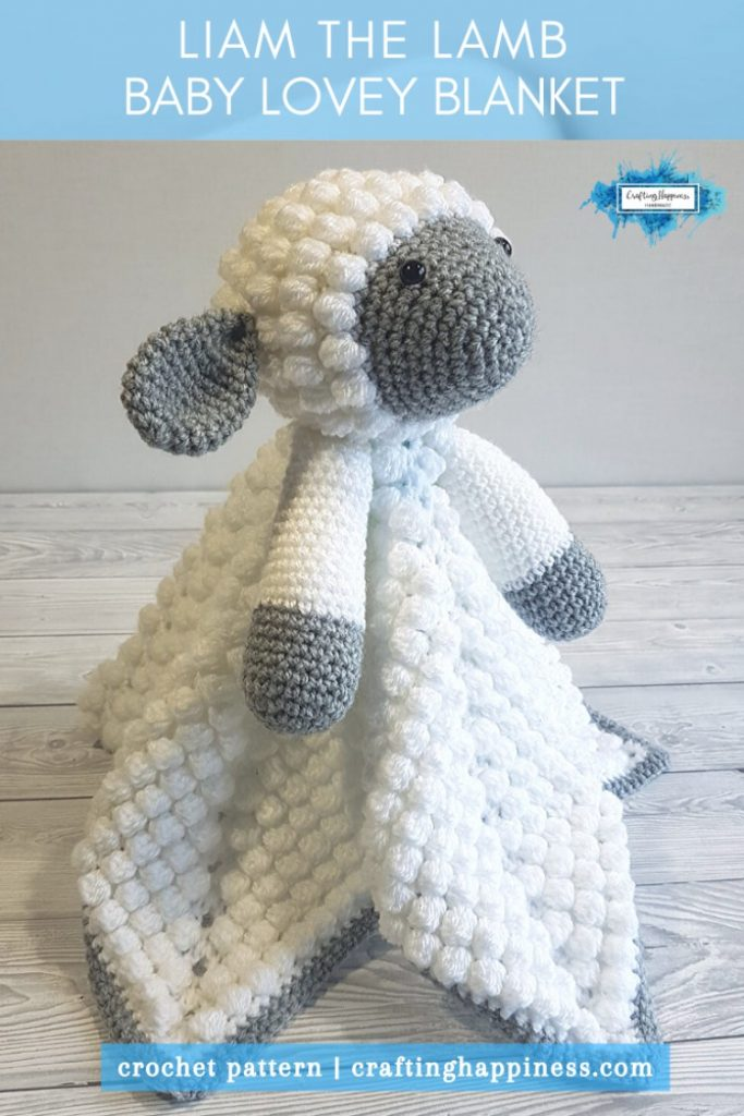 Liam The Lamb Baby Lovey Blanket Crochet Pattern by Crafting Happiness