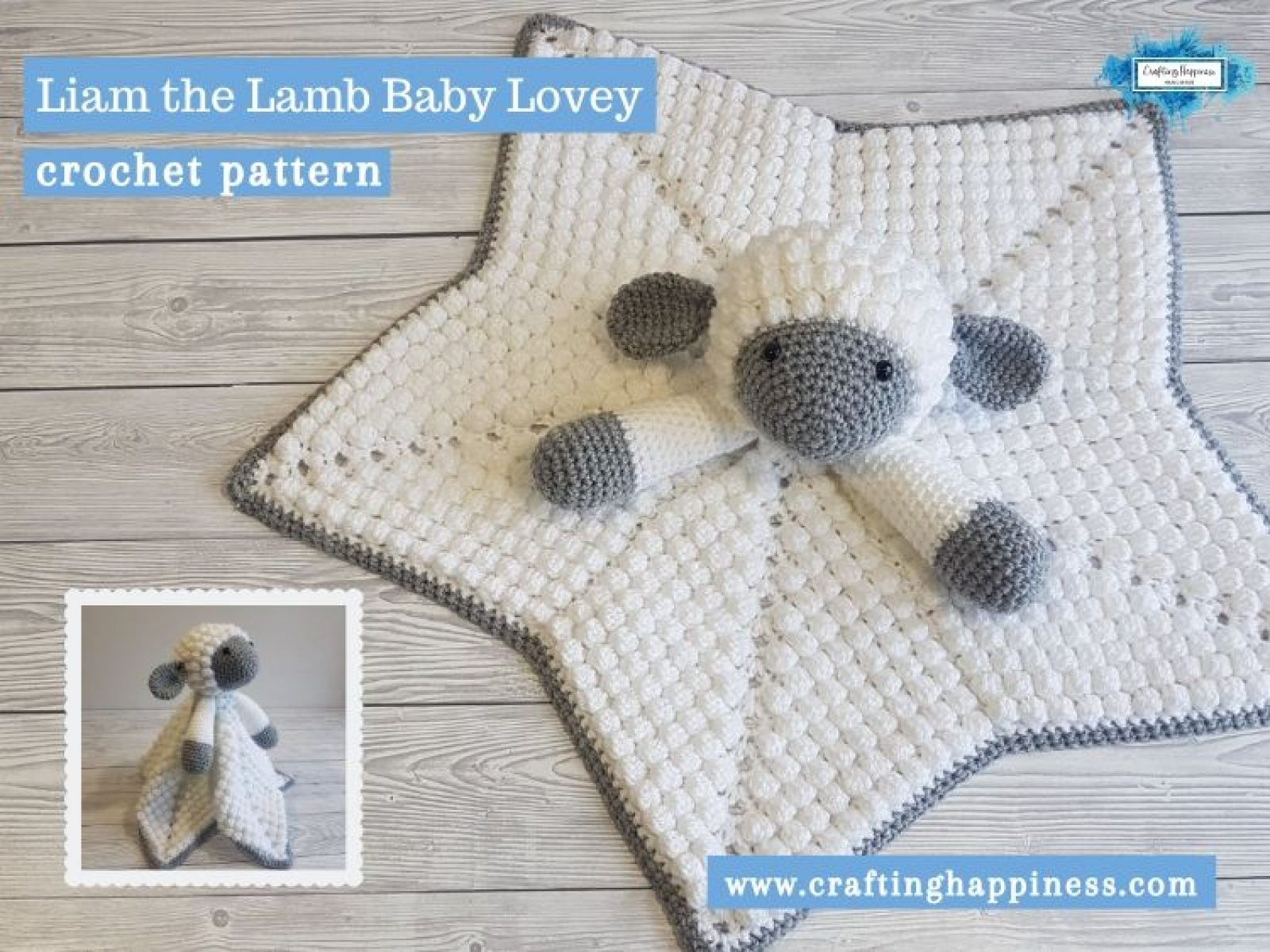 Liam the Lamb Baby Lovey by Crafting Happiness FACEBOOK POSTER