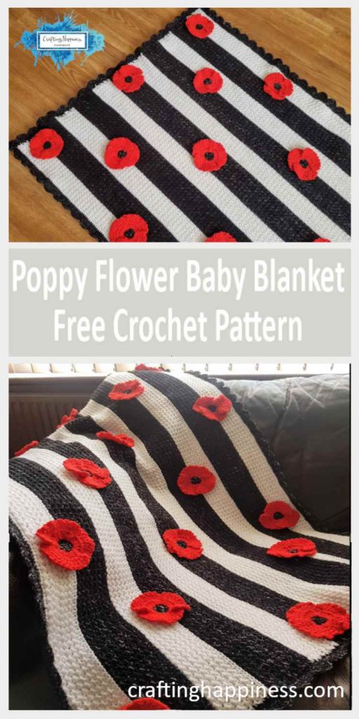 Crochet Poppy Flower Free Pattern by Crafting Happiness Pinterest Poster