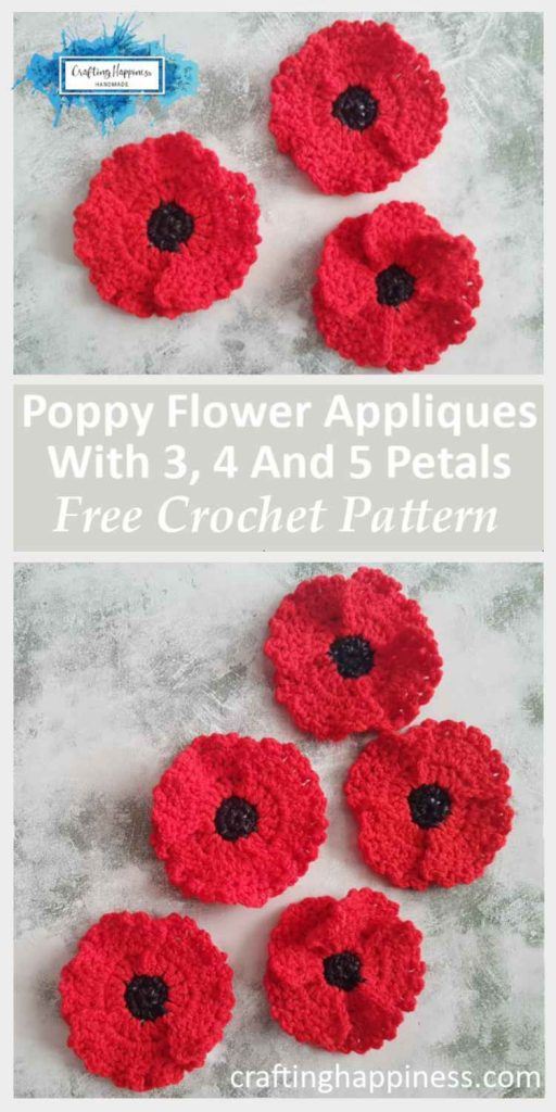 Quick & Easy Crochet Poppy Flower Applique With 3, 4 & 5 Petals Free Pattern by Crafting Happiness Pinterest Poster