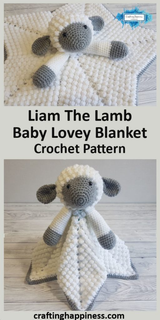 Liam The Lamb Baby Lovey Blanket Crochet Pattern by Crafting Happiness Pinterest Poster