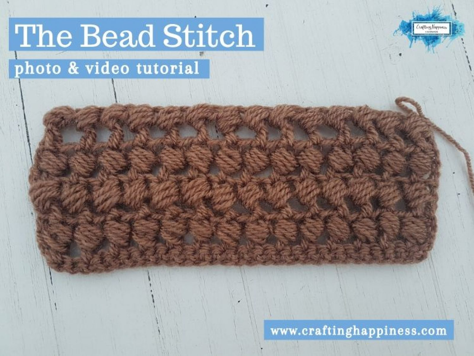 Crochet Bead Stitch by Crafting Happiness FACEBOOK POSTER