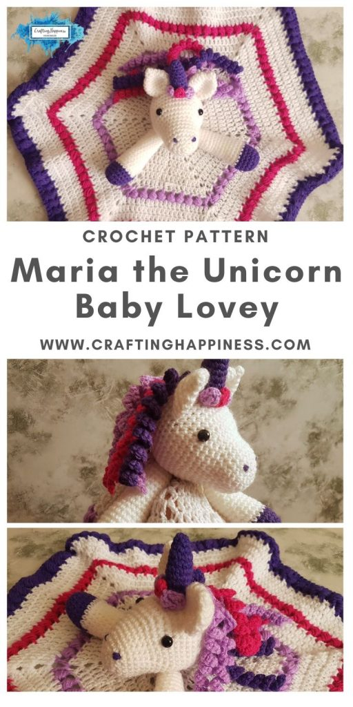 Maria the Unicorn Baby Lovey by Crafting Happiness MAIN PINTEREST POSTER 1