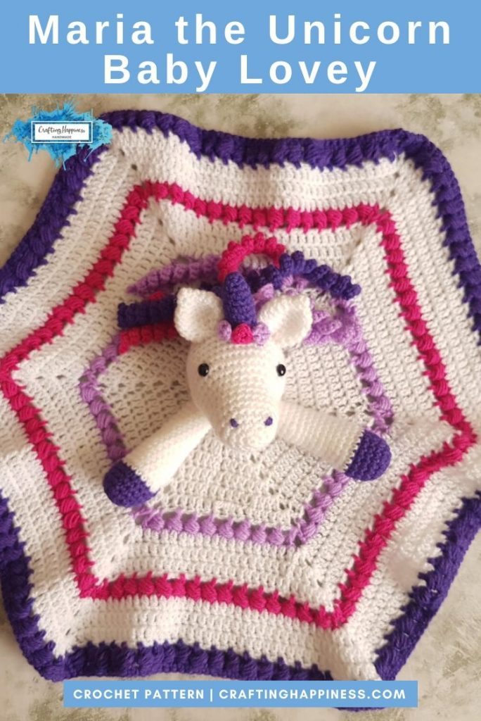 Maria the Unicorn Baby Lovey by Crafting Happiness PINTEREST POSTER 4