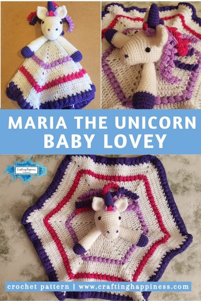 Maria the Unicorn Baby Lovey by Crafting Happiness PINTEREST POSTER 5