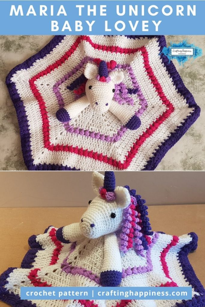 Maria the Unicorn Baby Lovey by Crafting Happiness PINTEREST POSTER 6