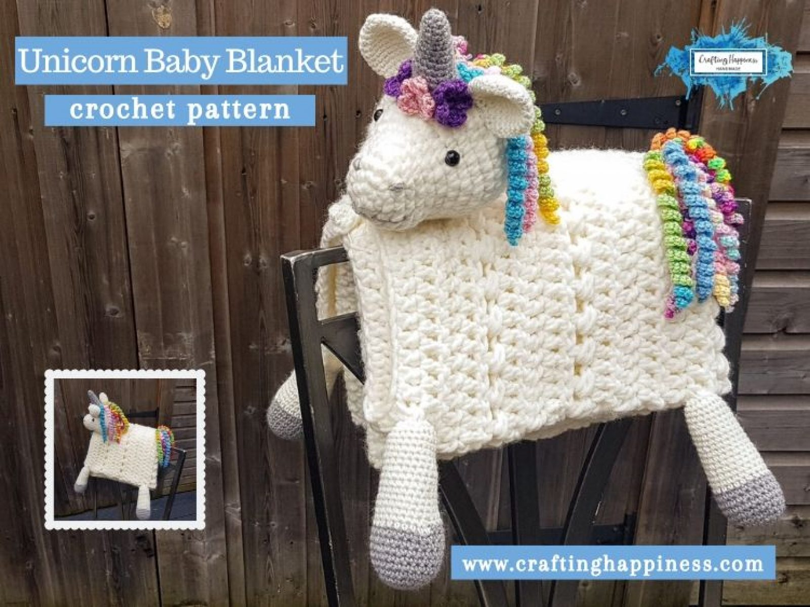 Unicorn Baby Blanket by Crafting Happiness FACEBOOK POSTER