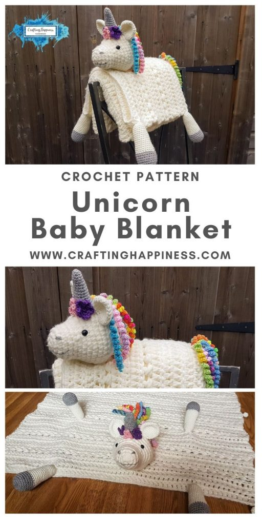 Unicorn Baby Blanket by Crafting Happiness MAIN PINTEREST POSTER 1