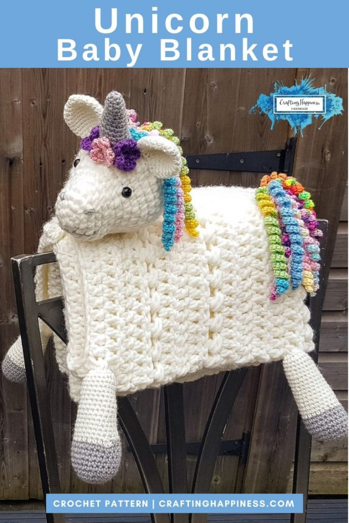 Unicorn Baby Blanket by Crafting Happiness PINTEREST POSTER 4