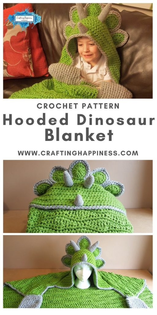 Hooded Dinosaur Blanket Pattern by Crafting Happiness MAIN PINTEREST POSTER 1