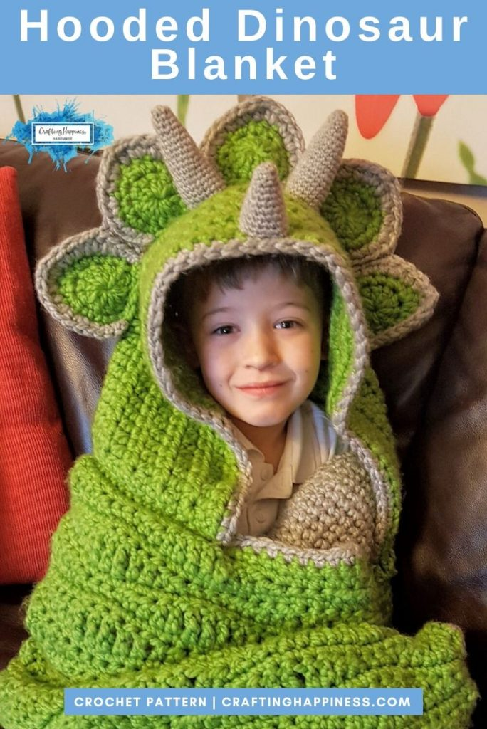 Hooded Dinosaur Blanket Pattern by Crafting Happiness PINTEREST POSTER 2