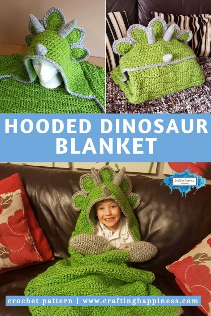 Hooded Dinosaur Blanket Pattern by Crafting Happiness PINTEREST POSTER 5