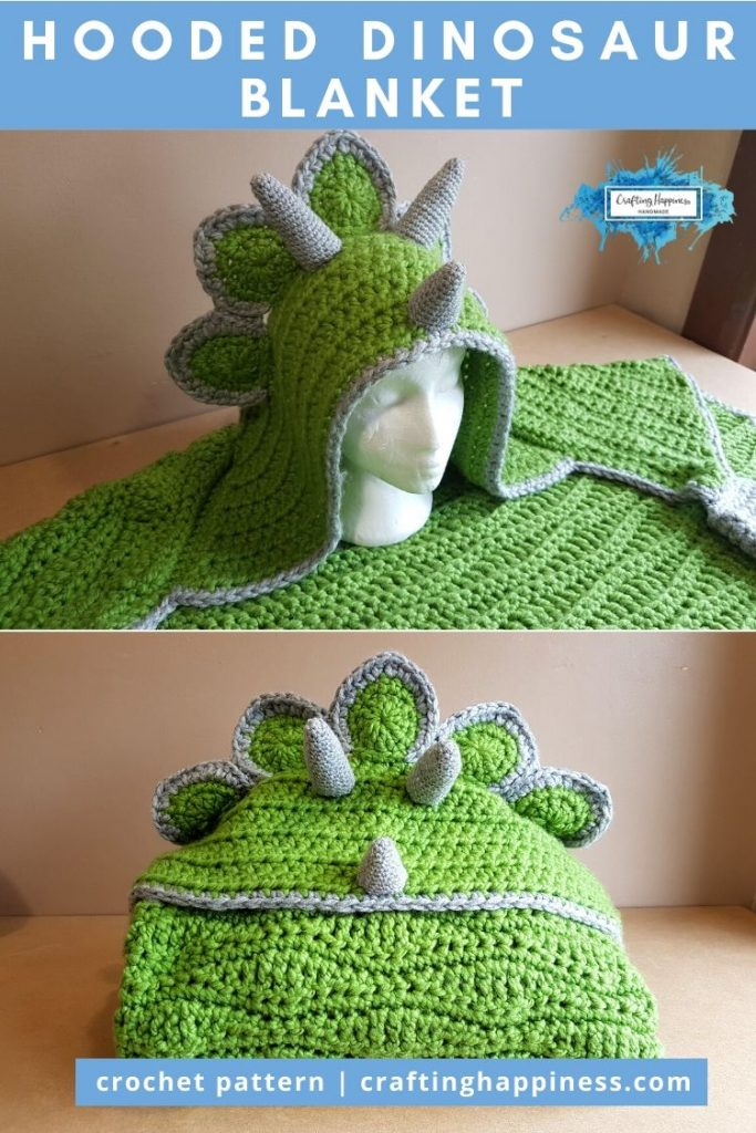 Hooded Dinosaur Blanket Pattern by Crafting Happiness PINTEREST POSTER 6