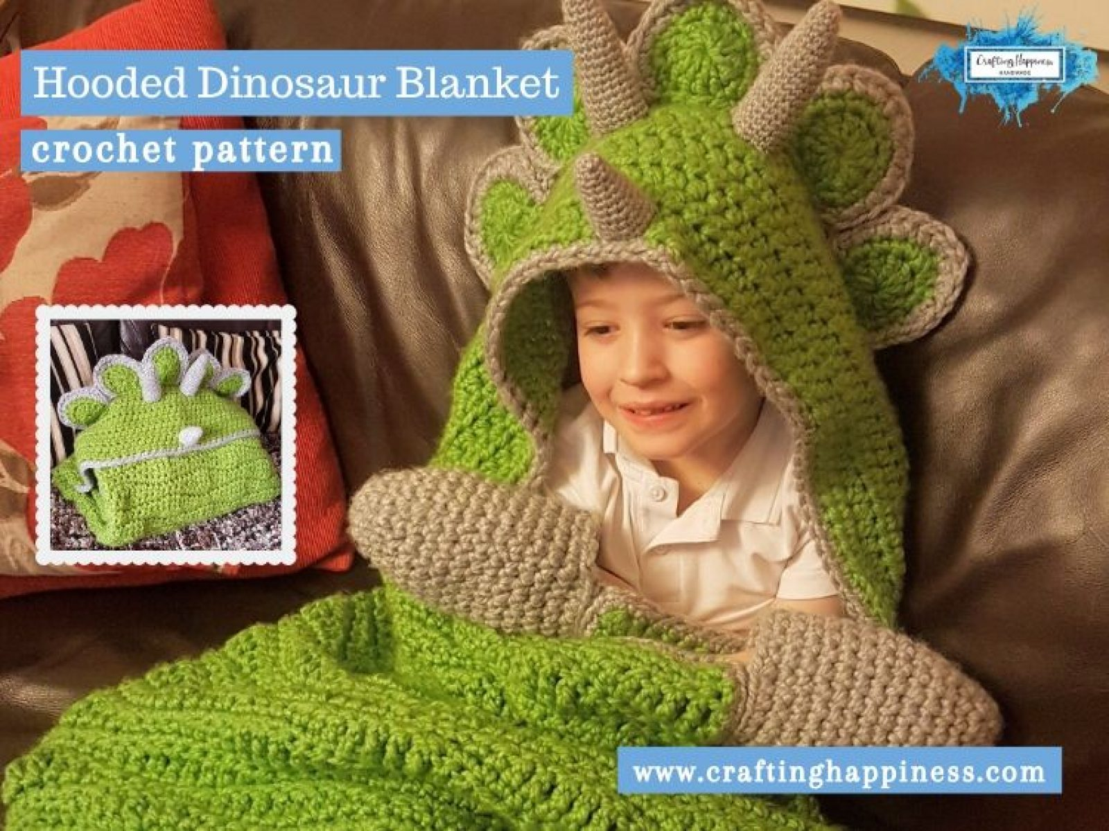 Hooded Dinosaur Blanket by Crafting Happiness FACEBOOK POSTER