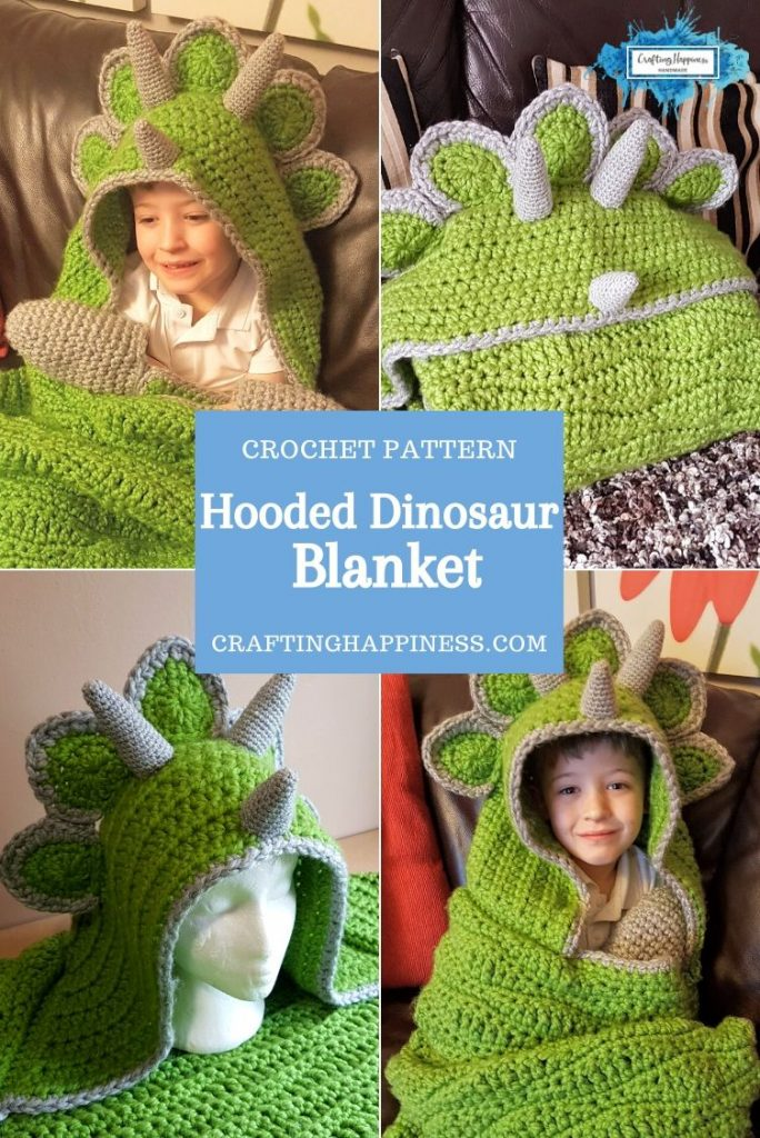 Hooded Dinosaur Blanket by Crafting Happiness PINTEREST POSTER 3