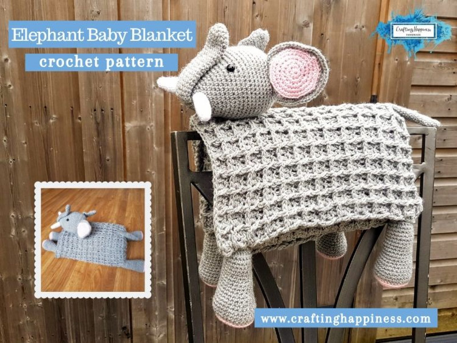 Elephant Baby Blanket by Crafting Happiness FACEBOOK POSTER