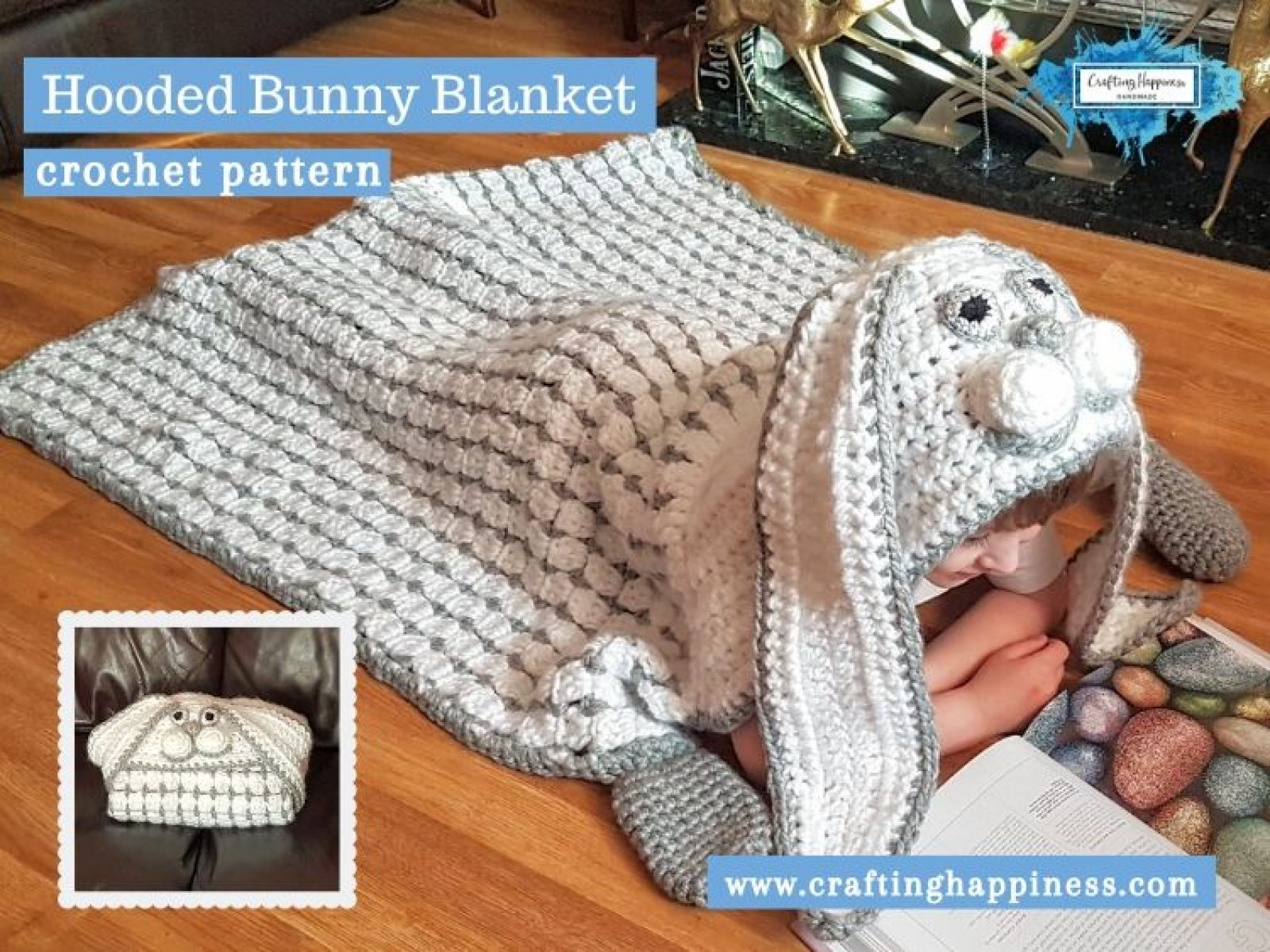 Hooded Bunny Blanket by Crafting Happiness FACEBOOK POSTER