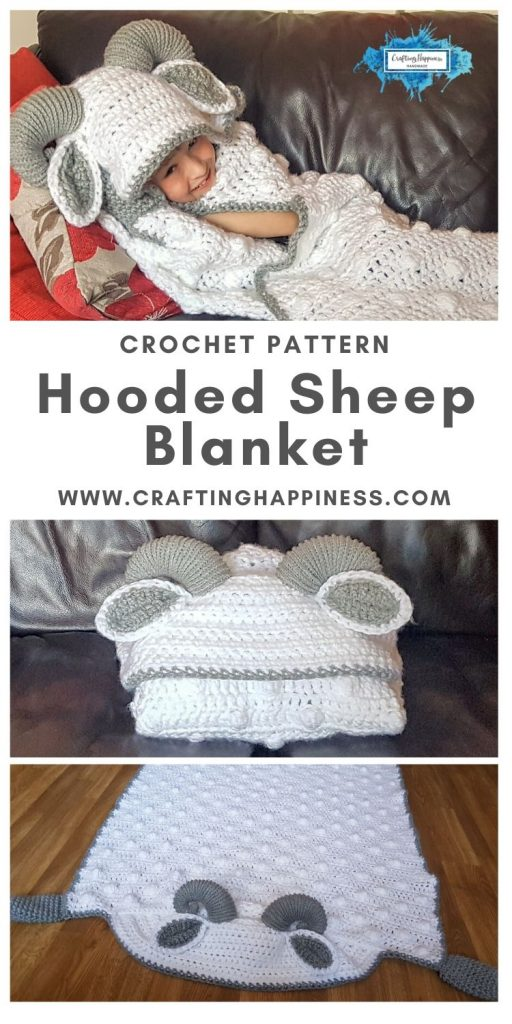 Hooded Sheep Blanket Pattern by Crafting Happiness MAIN PINTEREST POSTER 1