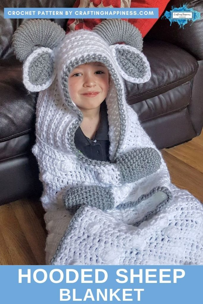 Hooded Sheep Blanket Pattern by Crafting Happiness PINTEREST POSTER 2