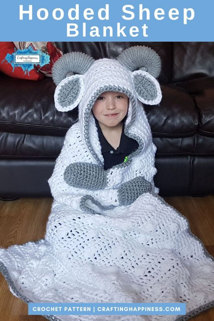 2in1 Farm Sheep Hooded Blanket Crochet Pattern Crafting Happiness