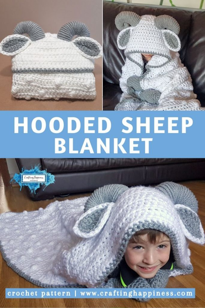 Hooded Sheep Blanket Pattern by Crafting Happiness PINTEREST POSTER 5