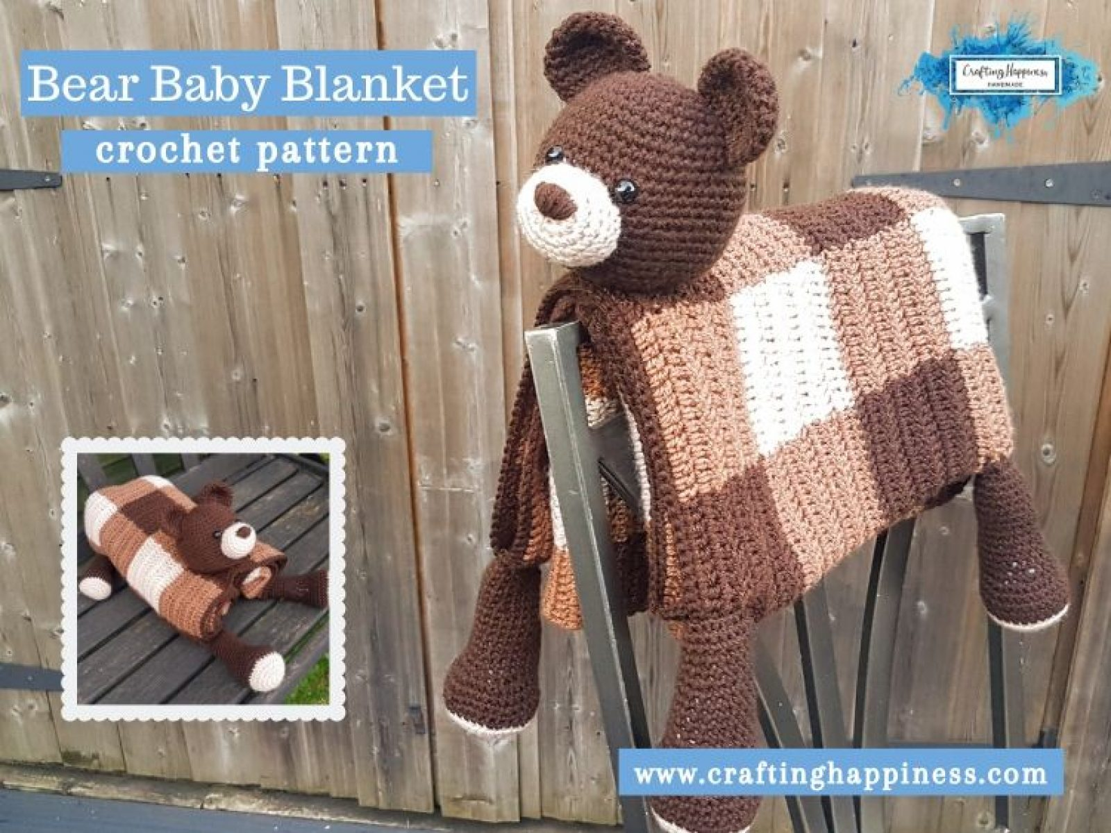 Bear Baby Blanket by Crafting Happiness FACEBOOK POSTER