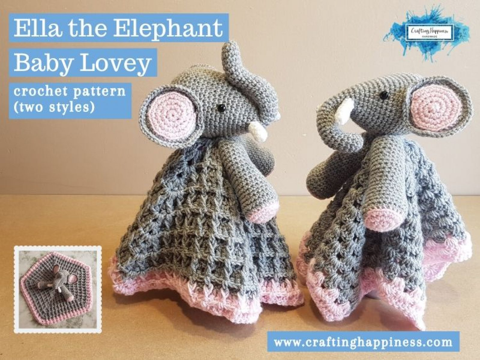 Ella the Elephant Baby Lovey Baby Lovey by Crafting Happiness FACEBOOK POSTER