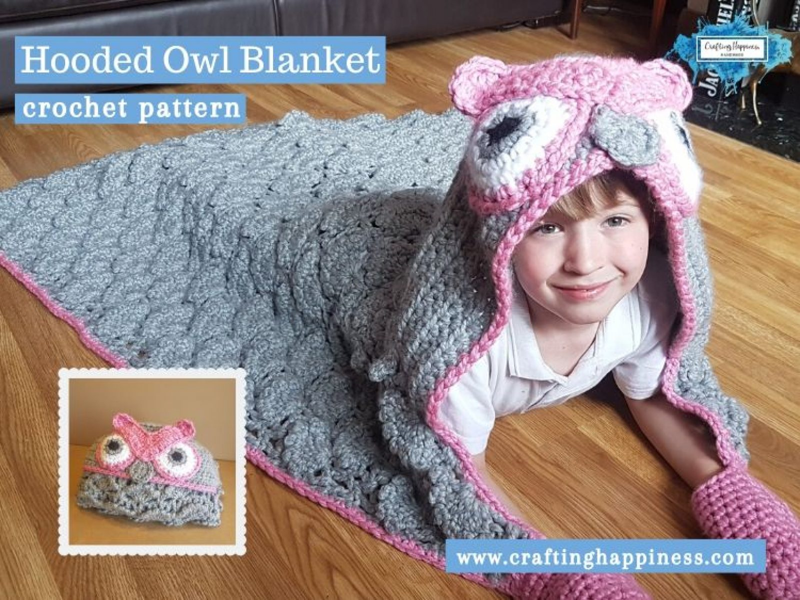 Hooded Owl Blanket by Crafting Happiness FACEBOOK POSTER