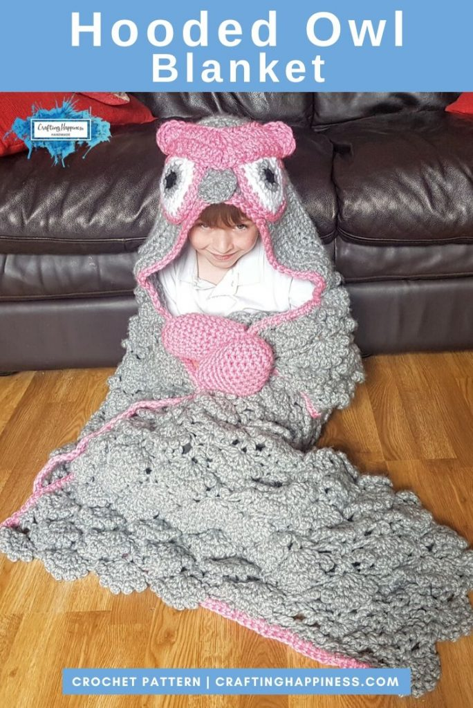 Hooded Owl Blanket by Crafting Happiness PINTEREST POSTER 4