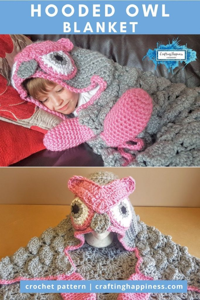 Hooded Owl Blanket by Crafting Happiness PINTEREST POSTER 6