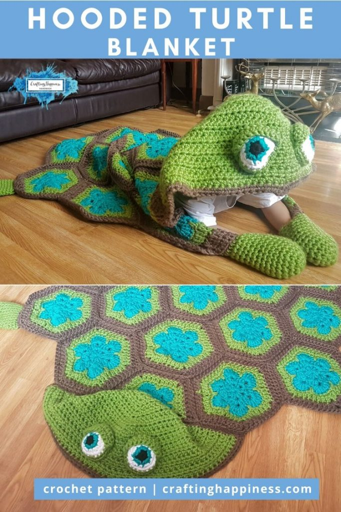 Hooded Turtle Blanket Pattern by Crafting Happiness PINTEREST POSTER 6