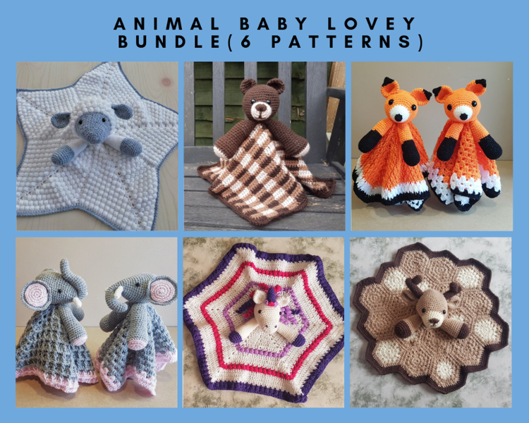 Animal Baby Lovey Blanket Bundle Crochet Pattern by Crafting Happiness