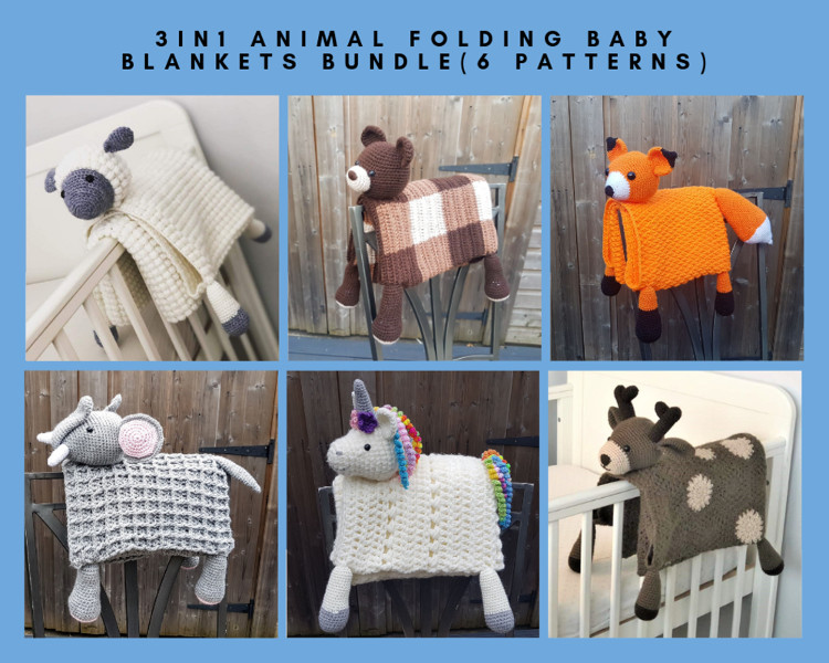 6 Pattern Bundle of 3in1 Animal Folding Baby Blankets