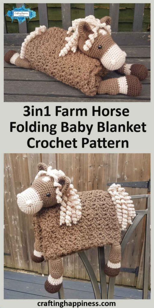3in1 Farm Horse Folding Baby Blanket Crochet Pattern by Crafting Happiness