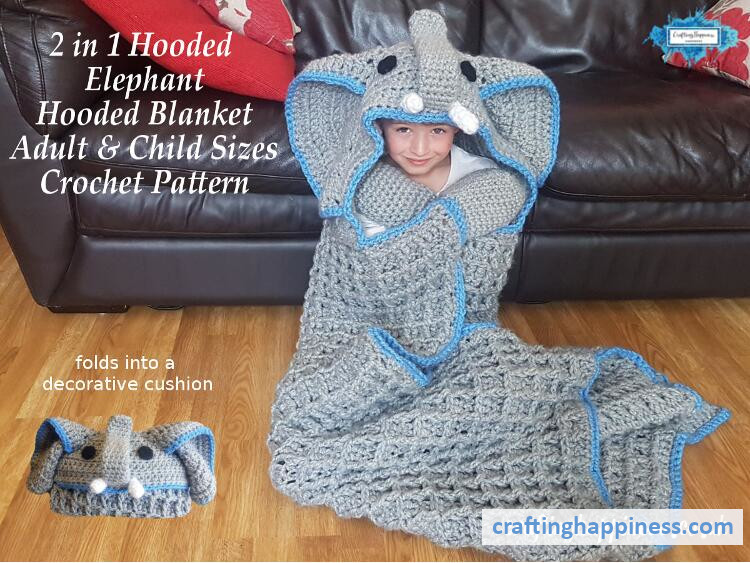 2in1 Safari Elephant Hooded Blanket For Adults Amp Kids