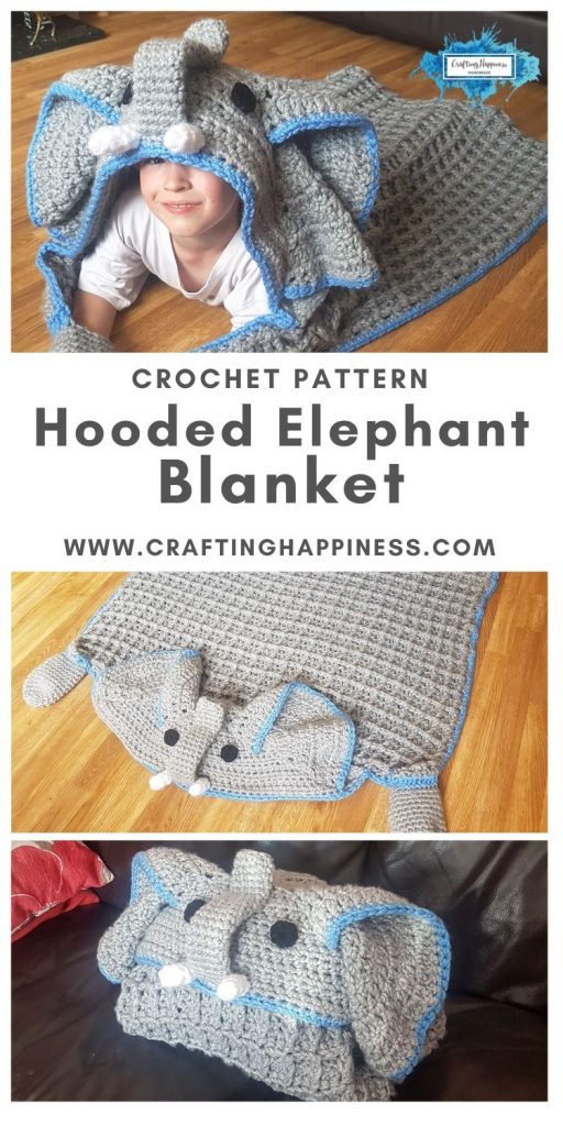 Hooded Elephant Blanket Pattern by Crafting Happiness MAIN PINTEREST POSTER