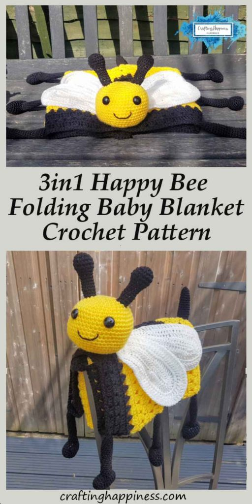 3in1 Happy Bee Baby Blanket Crochet Pattern by Crafting Happiness Pinterest Poster